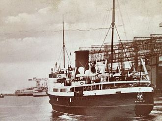 SS Tynwald (1936) - Tynwald in pre-war passenger service, pictured leaving Belfast.