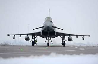 Typhoon FGR4 aircraft, based at RAF Coningsby Typhoon Landing At RAF Coningsby MOD 45155053.jpg