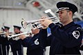 U.S. Air Force Master Sgt. Patrick McDermott, a trumpeter with U.S. Air Force Band Ceremonial Brass, participates in a rehearsal for the presidential inauguration parade at Joint Base Andrews, Md 130111-F-HB697-294.jpg