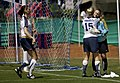 U.S. Army Capt. Randee Farrell gives goal keeper Stacie Bortz a hug congratulating her on a great game against the Democratic Peoples Republic Korea team during the Military World Games' women's soccer competition in Hyderabad.JPG