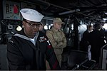 U.S. Navy Gunner's Mate 2nd Class Andrew Spivey, left, stands watch aboard the guided missile destroyer USS Truxtun (DDG 103) as it prepares to pull into Constanța, Romania, March 8, 2014 140308-N-EI510-289.jpg