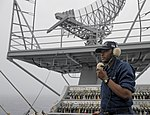 U.S. Navy Seaman Daron J. Edwards stands forward lookout as part of his watch rotation aboard the aircraft carrier USS Nimitz (CVN 68) June 10, 2013, while underway in the Indian Ocean 130610-N-PM023-019.jpg