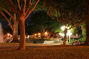 University of Central Florida - The UCF Reflecting Pond and walkway in front of Millican Hall at night