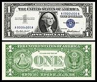 Certificado de prata de $ 1, série 1957, Fr.1619, representando George Washington
