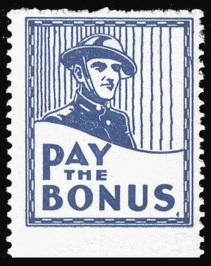 Bonus Army - Cinderella stamp (USA, 1932) supporting the Bonus Army