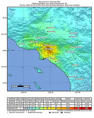 1987 Whittier Narrows earthquake - USGS ShakeMap for the Whittier Narrows mainshock
