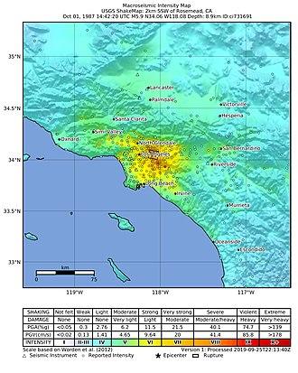 1987 Whittier Narrows earthquake - USGS ShakeMap for the Whittier Narrows mainshock
