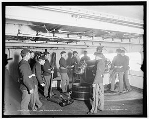 "6""/40 caliber gun - Image: USS Massachusetts 6 inch gun and crew LOC 4a 14403v"