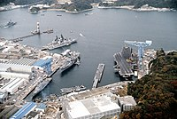 USS Midway (CV-41) and USS Clue Ridge (LCC-19) in Yokosuka.jpg