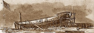 Jacob Aaron Westervelt - Engraving of the USS Ottawa under construction at the Westervelt shipyard in 1861