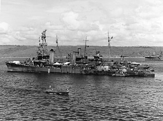USS Pensacola (CA-24) - Pensacola the day after being heavily damaged off Tassafaronga by a Japanese torpedo.