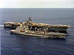 USS Saratoga (CV-60) with Henry J.Kaiser T-AO-187 1993.JPEG