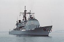 ناو جنگی وینسنس آمریکا در اکتبر ۱۹۸۸ (۳ ماه بعد از حادثه) در سندیگو، کالیفرنیا پس از ماموریت ۶ ماههاش در خاورمیانه.