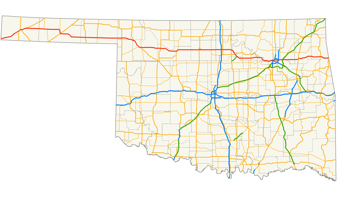US Route In Oklahoma Wikipedia - Oklahoma highway map