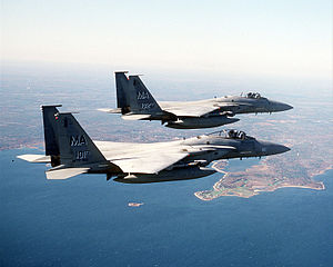 Combat air patrol - Two F-15 Eagles from the Massachusetts Air National Guard's 102nd Fighter Wing fly a combat air patrol mission over New York City in support of Operation Noble Eagle