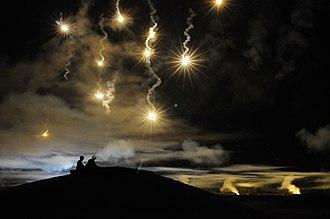 Flare - Illumination flares being used during military training exercises