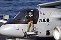 "US Navy 021114-N-2326B-007 plane captain assigned to the ""Red Tails"" of Sea Control Squadron Two One (VS-21) prepares an S-3B ""Viking"" for the next launch on the ship's flight schedule.jpg"