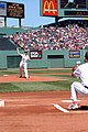 US Navy 050703-N-3286A-003 USS Bataan (LHD 5) Commanding Officer, Capt. Nora W. Tyson throws out the ceremonial first pitch at Fenway Park before the Boston Red Sox played the Toronto Blue Jays.jpg