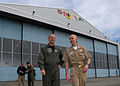 US Navy 080620-N-9860Y-002 Adm. Jonathan Greenert, commander, U.S. Fleet Forces and Capt. Ken Seliga, commodore of Patrol and Reconnaissance Wing 10, depart Hangar 6 en route to a tour of an EP-3E Aries II.jpg