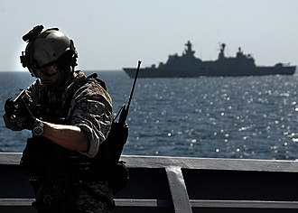 Frogman Corps (Denmark) - Image: US Navy 090219 N 6278K 062 The visit, board, search and seizure team from the Danish flexible support ship HDMS Absalon (L 16) conduct VBSS training aboard USS Vella Gulf (CG 72)