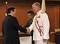 US Navy 090703-N-8273J-053 Japan Defense Minister Yasukazu Hamada, left, congratulates Chief of Naval Operations (CNO) Gary Roughead after Roughead was presented with the Grand Cordon of the Rising Sun award.jpg