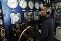 US Navy 100708-N-6477M-023 Machinist's Mate Fireman Christopher Tinoco maintains the ship's speed aboard USS Cleveland (LPD 7).jpg