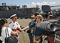 US Navy 110609-N-YM590-140 Capt. John M. Dorey speaks to media during a press brief on the pier after USS Anzio (CG 68) pulled into Batumi, Georgia.jpg