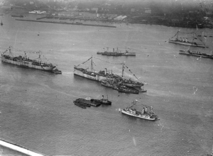 USS Bridgeport (AD-10) - USS Bridgeport (far left) is among the ships greeting the arrival of President Woodrow Wilson in Brest.
