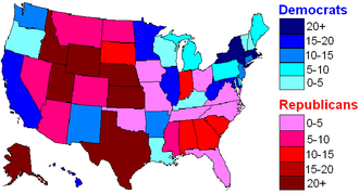 Political party strength in U.S. states - Image: US percentages by state 2010