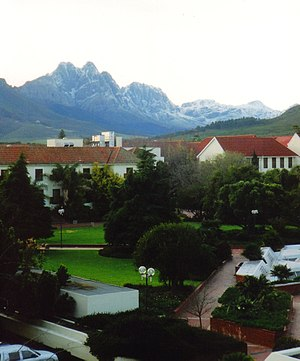 "Stellenbosch University - View over the ""Red Square"" of Stellenbosch University with the peak,""The Twins"" beyond"