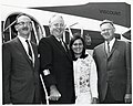 Unidentified man, Mayor John F. Collins, and daughter Patricia Collins in Saint John, New Brunswick, Canada, with Saint John Mayor Dr. Stephen H. Weyman (10425543674).jpg