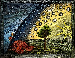 Hand-colored version of the Flammarion woodcut, depicting the Aristotelian conception of the universe that preceded the models of Copernicus and Thomas Digges.
