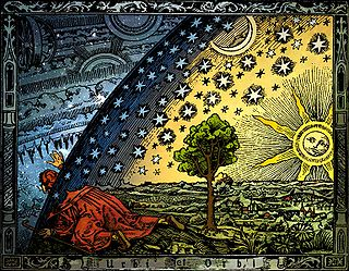 Hand-coloured version of the anonymous wood engraving known as the Flammarion woodcut(1888).