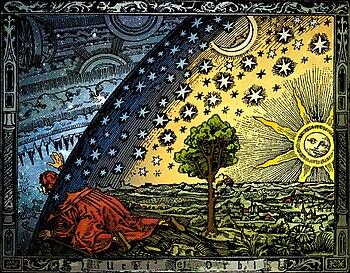 Universum - C. Flammarion, gravure sur bois, Paris 1888, Coloris : Heikenwaelder Hugo, Vienne 1998