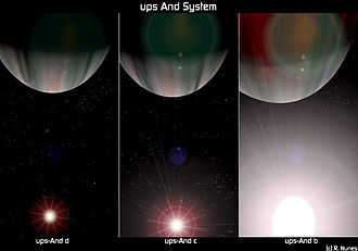 Upsilon Andromedae - Artist's conception of the planets of Upsilon Andromedae.