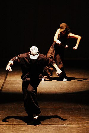 Street dance - Two street dancers performing in the URBANOS dance contest in Brazil.