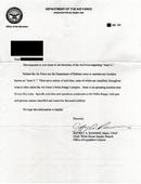 Una lettera dell'aeronautica militare in risposta ad una richiesta sull'Area 51