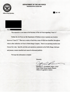 A letter from the USAF replying to a query about Area 51