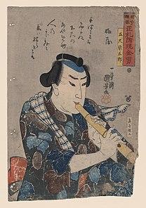 KUNIYOSHI, Utagawa (1797-1861) Goshaku Somegoro playing shakuhachi
