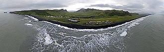 Vík í Mýrdal - Vík í Mýrdal Aerial Panorama from out at sea