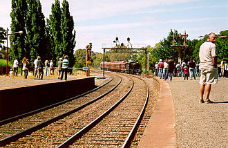 Victorian Goldfields Railway - First train from Maldon approaches Castlemaine station, 19 December 2004
