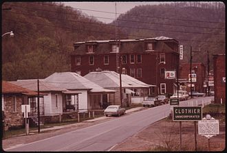 Clothier, West Virginia - Image: VIEW OF THE MAIN HIGHWAY WHICH RUNS THROUGH THE UNINCORPORATED TOWN OF CLOTHIER, WEST VIRGINIA, NEAR MADISON IN LOGAN... NARA 556420