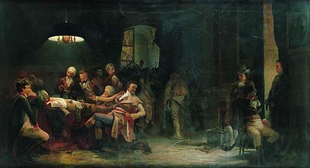 Valery Jacobi's painting showing the wounded Robespierre Valery Jacobi Ninth Thermidor.jpg