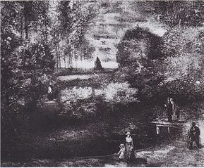 Parsonage Garden at Nuenen with Pond and Figures