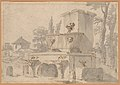Venetian Capriccio- Landscape with a Farm Building, Sarcophagus, and Fountain (recto); Monument (verso) MET DP226093.jpg