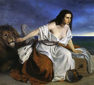 Third Italian War of Independence - Allegory of Venice (lion) hoping to join Italy (woman).