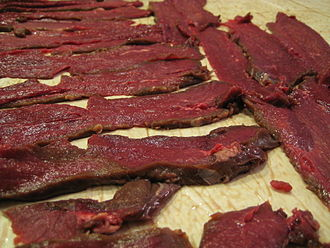 Venison - Venison jerky strips prior to drying