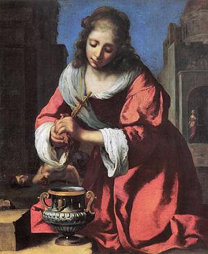 Praxedes - Saint Praxidis.  Attributed to Johannes Vermeer (ca. 1655).