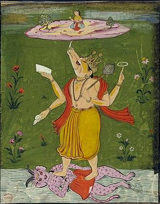 Hiranyaksha - Image: Viṣṇu as Varaha supporting Lakṣmī or Bhudevi on the earth by his tusk