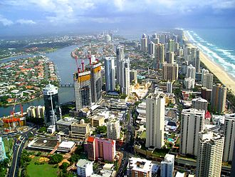 History of Gold Coast, Queensland - Modern-day Gold Coast — looking north across Surfers Paradise from Q1.